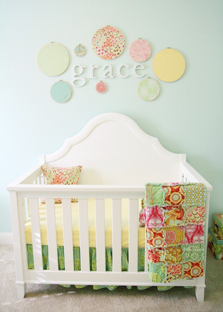 Gracie's room - love mint colour that I have been seeing, gorgeous teamed with yellow and pinks. These little hoops are a great DIY project. Sweet room.