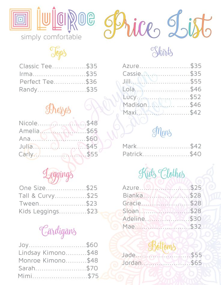 photograph relating to Lularoe Price List Printable named LuLaRoe Expense Listing :) LuLaRoe in just 2019 Lularoe charges