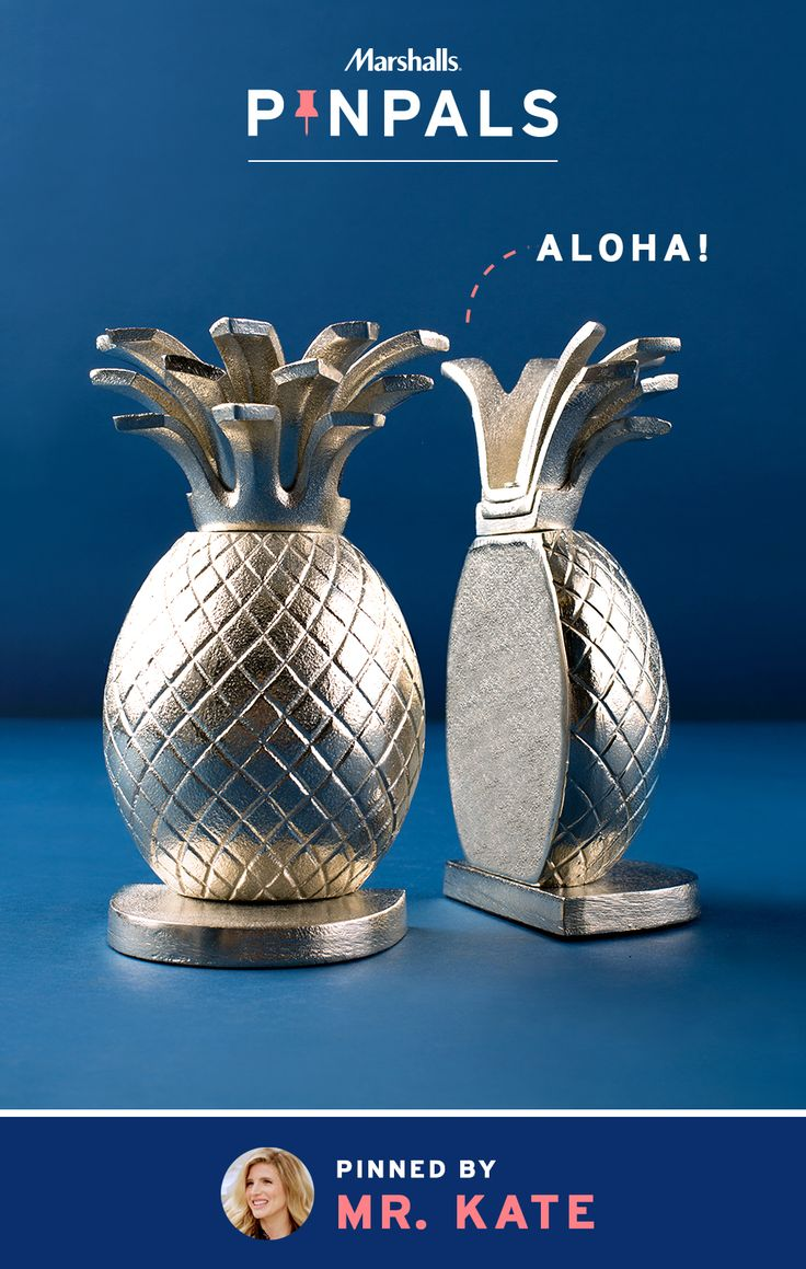 "Say ""aloha"" to our latest tropical gem: metallic pineapple bookends. They shine, they shimmer, and they keep books organized on any desk or shelf. Home décor extraordinaire, Mr. Kate, was so inspired by these beauties that she surprised her Pin Pal with them.  Inspired by this pin? Save it and you could be surprised by a Pin Pals box tailored to your style! Now that's a true #MarshallsSurprise. #Contest rules: http://marshallspinpals.dja.com/"