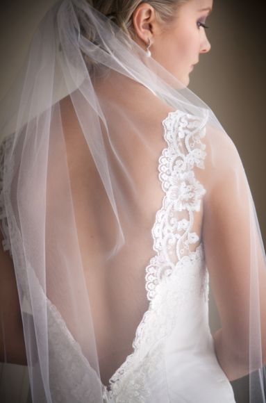 Low Back Lace Gown & Full veil, so very elegant.  Captured by Melbourne Wedding Photographer STUDIOMAX