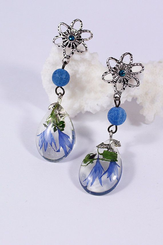 Resin Jewelry With Real Flowers Rustic drop Stud by SweetLine