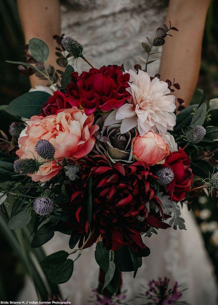Burgundy Chrysanthemum Stem Silk Fall Flowers & Mums Afloral.com