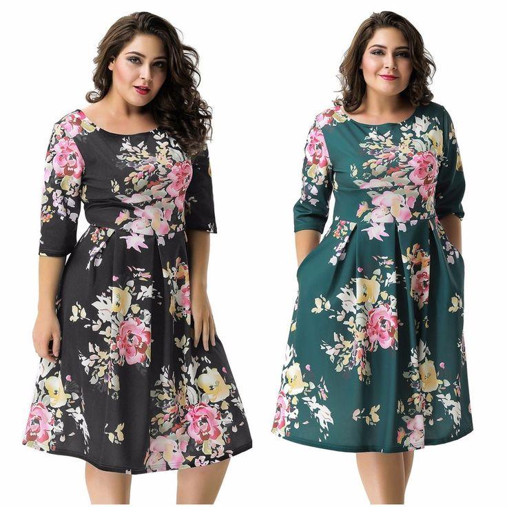 AU 3/4 Sleeve Floral Pleated Empire Waist Knee Length Evening Formal Dress M-3XL