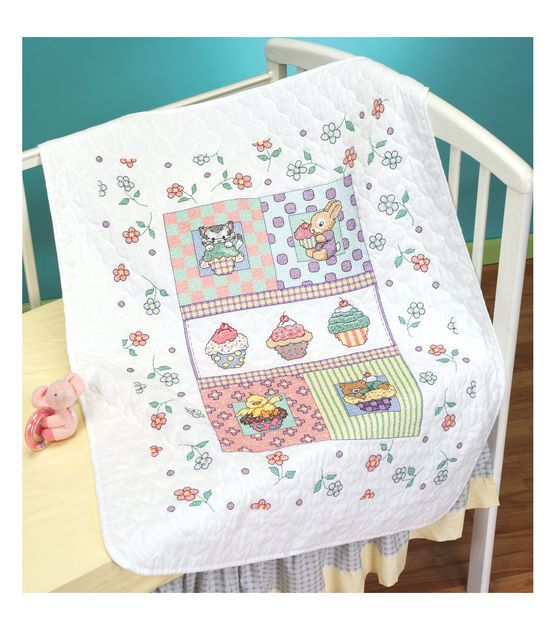 Janlynn Stamped Cross Stitch Kit Quilt Sweet As A Cupcake