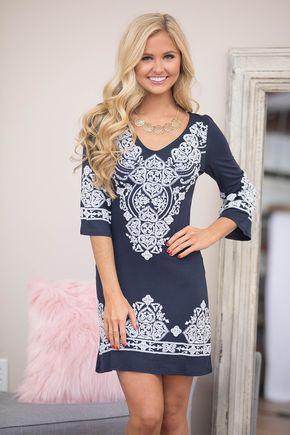 Lasting Impression Dress Navy