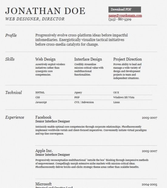 Best Resumes Images On   Professional Resume Template
