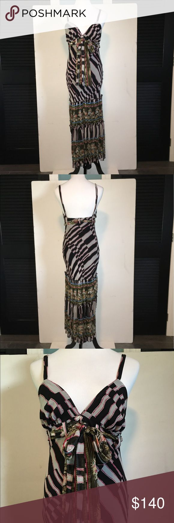 """Diane von Furstenberg Kingston Beaded Dress PLEASE NOTE-- this is a size 4, but runs small (fits more like a 2, which is why I labeled it as a 2 (XS). Armpit to armpit is approximately 13"""" across (un-stretched, laying flat on table). * Size 4 * Zebra with Tapis print. * This dress has gorgeous features!! Beaded detailing at the bottom of the dress, along with contrasting prints and a tie belt that sits on an empire-inspired waist. Stunning with spaghetti straps-- can be worn as is, or with a…"""