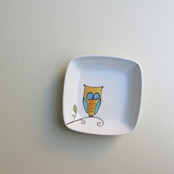 Orange and blue ceramic owl square bowl give a hoot pinterest