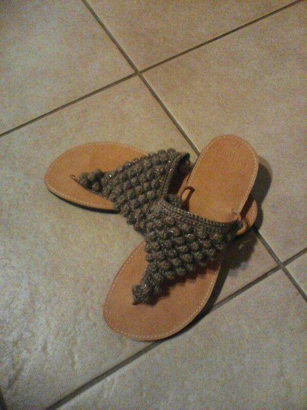 Sandals— leather—crochet