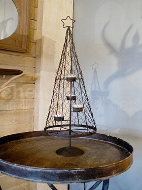Small metal fire tree 4 candles 65cm