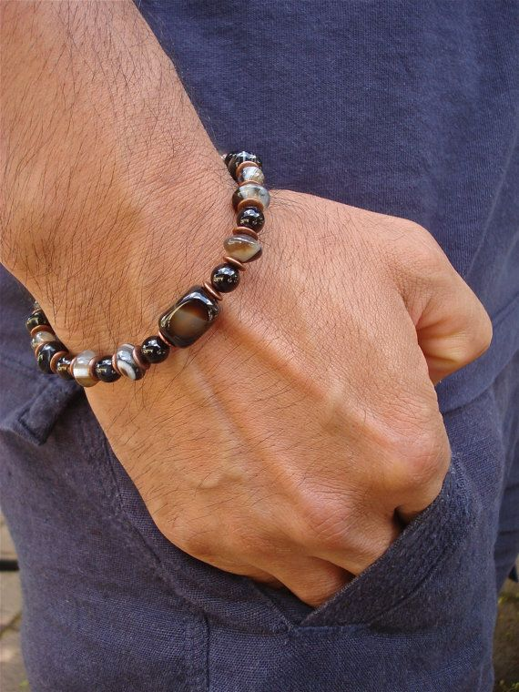 Men's Good Fortune Bracelet with Semi Precious Onyx, Filigree Antique Copper - Bohemian Man Bracelet