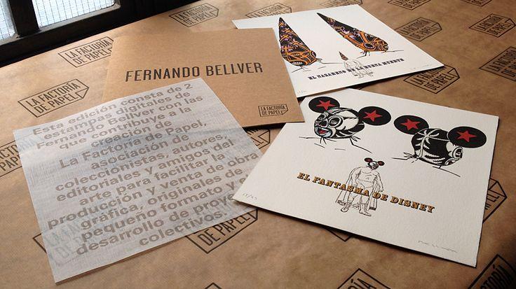 Carpeta de Fernando Bellver. 2 estampas digitales, 100 copias firmadas y numeradas por el autor. Papel de Arches 400 g 100% algodón. Edición de La Factoría de Papel estampada en Taller Manolo Gordillo. Edición de Arte
