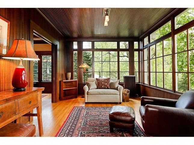 1915 Craftsman, Portland, OR found on Old House Dreams blog.  I have a love/hate relationship with this style of architecture.  Loving the dark beadboard enclosed sunporch, it is so rich in color, dark but light.