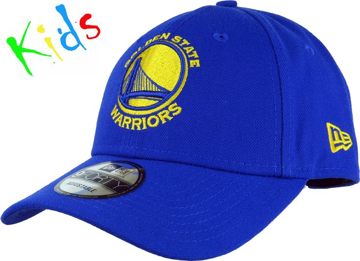 New Era Kids 940 The League Adjustable NBA Cap. Blue with the Warriors front logo, the New Era side logo, and the Golden State Warriors rear strap logo. Adjusta