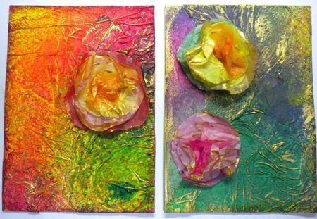 le résultat ( des fleurs papiers de soie, chatouillées à la peinture dorée...)