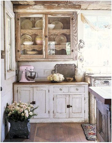 Charming and rustic kitchen...Love the pink mixer.  Perfect touch of color in the photo