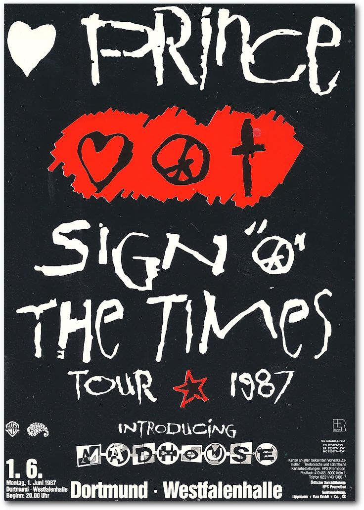 Prince: Sign of the times tour poster, 1987