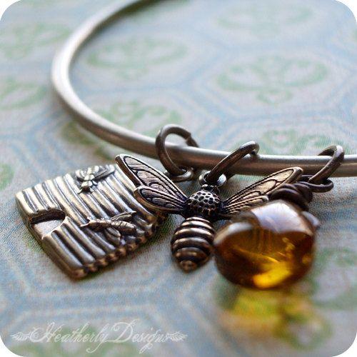 Honey Bee Mine brass bangle charm bracelet by HeatherlyDesigns, $21.00