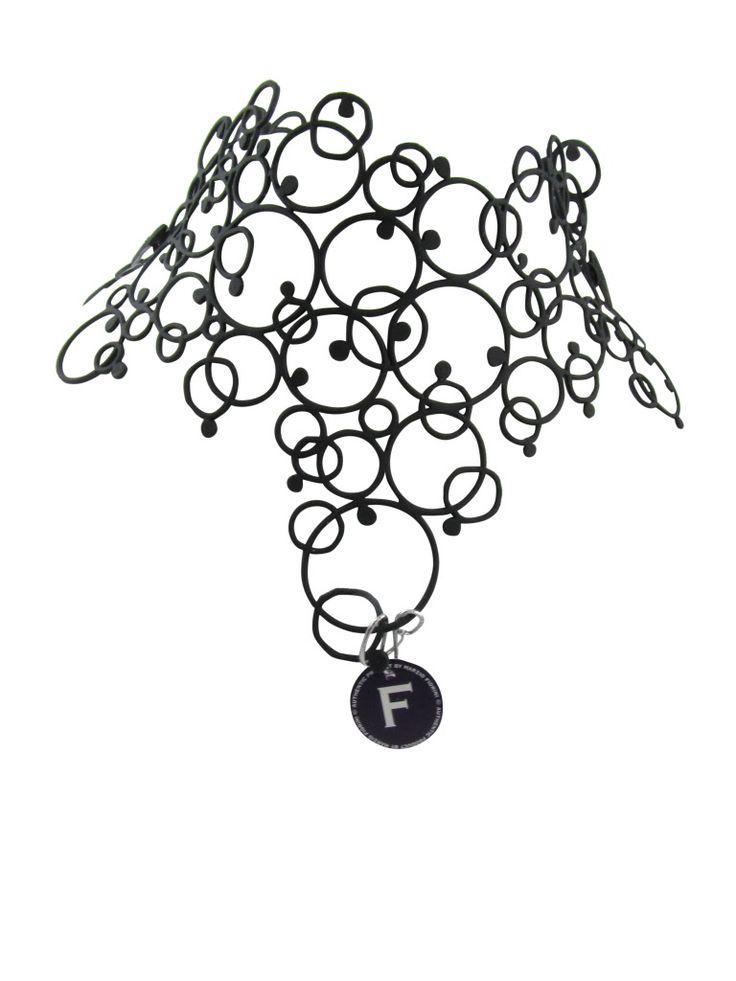 """Retro"" A Marzio Firoini recycled rubber necklace"