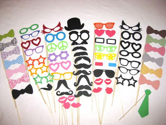 HUGE Photo Booth Prop Set - Ultimate Party 62 piece set - Photobooth Props Best Party Props. $100.00, via Etsy.