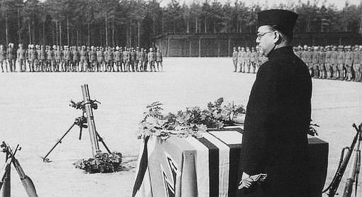 Chandra Bose reviewing his Azad Hind Waffen-SS volunteers.                                                                                                                                                     More