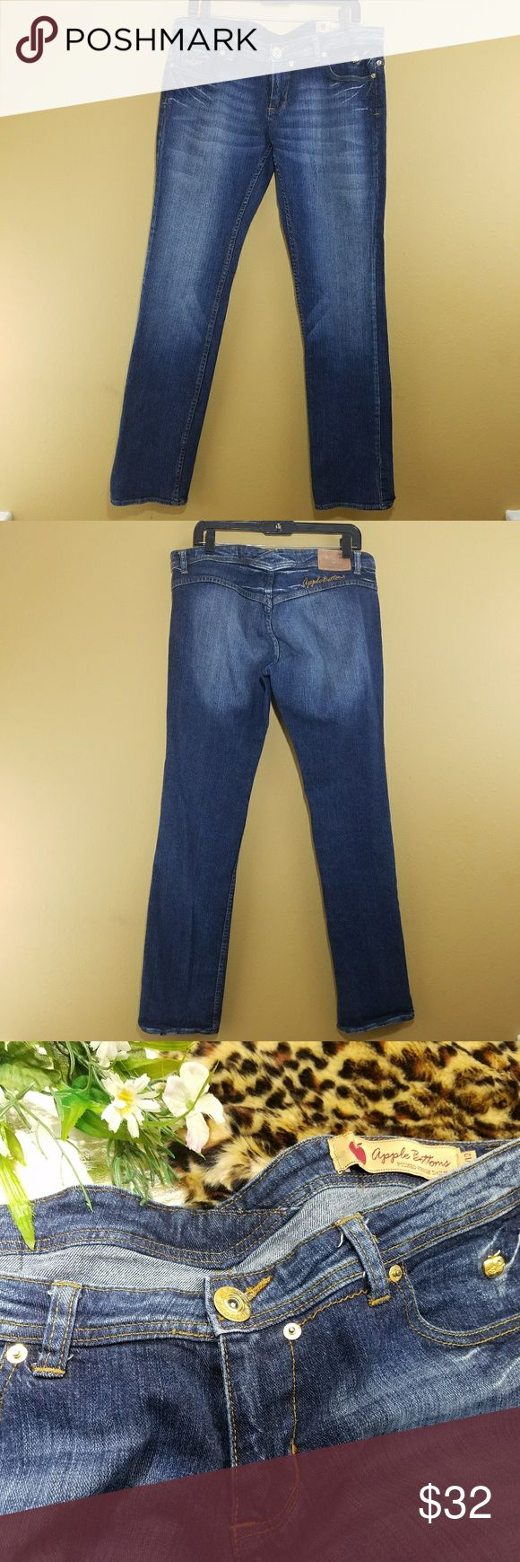 """Apple Bottoms Jeans sz 11/12 33"""" inseam Brand: Apple Bottoms Size: 11/12 Condition: Preloved, no holes, no tears, no stains  99% cotton 1% spandex. Machine washable. Made in China.  33"""" inseam 8"""" front rise 35"""" waist Apple Bottoms Jeans Boot Cut"""