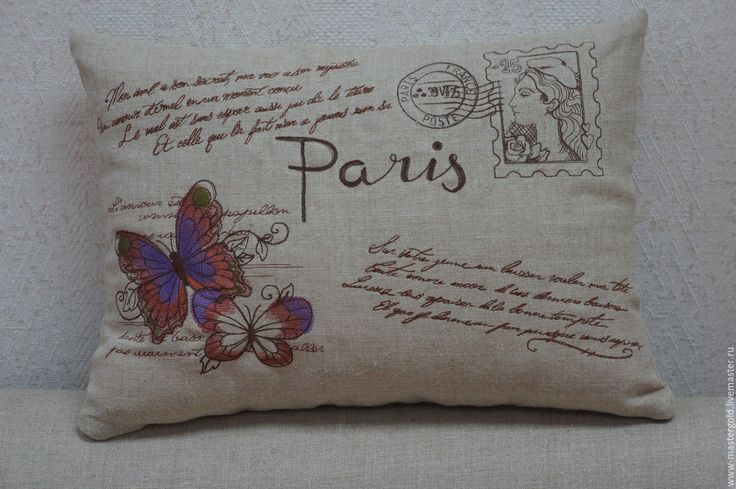 """Купить Подушка из серии """"письма из Парижа"""" бабочки - серый, Париж, письмо, подушка, Декор, подарок"""