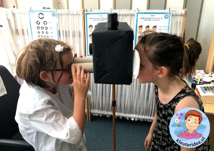 Themahoek opticien voor kleuters, kleuteridee, ogen meten, thema het oog, kindegarten optician role play, eye theme.