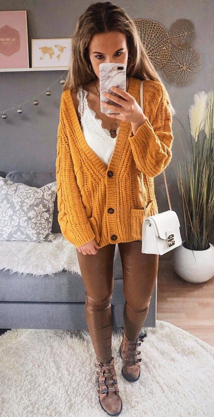 orange 3-button crochet coat #spring #outfits