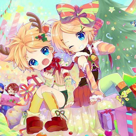 Merry Christmas everyone!!✨ (^∇^)☆彡 #Christmas #merrychristmas #kawaii #moe #anime #vocaloid #presents #rin #len #kagamine #kagaminetwins #cute #happy #winter #christmastree #meiko #miku #kouta #adorable #animegirl #animeboy #animeworld #animes #animekawaii #manga #digital #wallpaper #christmas2015