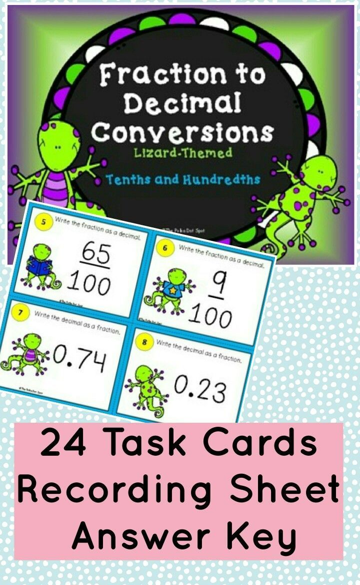 Fraction to Decimal Conversion Task Cards 4th Grade