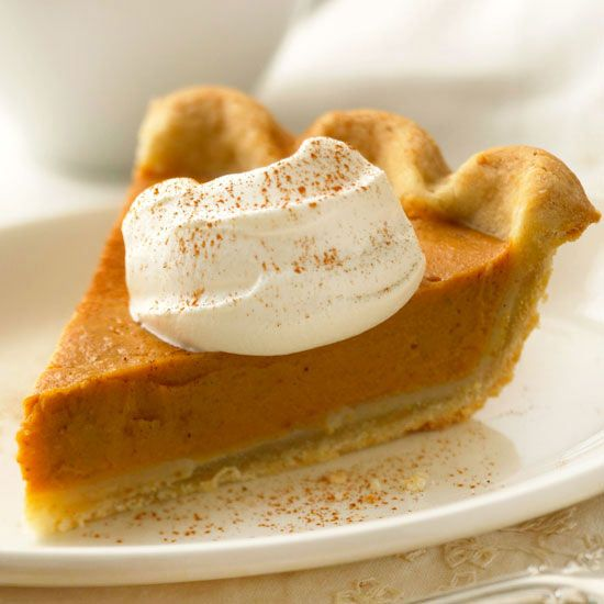 Ditch those pesky calories with this delicious reduced-guilt pumpkin pie. More fall desserts: http://www.bhg.com/thanksgiving/recipes/pumpkin-pie-recipes/?socsrc=bhgpin111712lightpumpkinpie#page=8