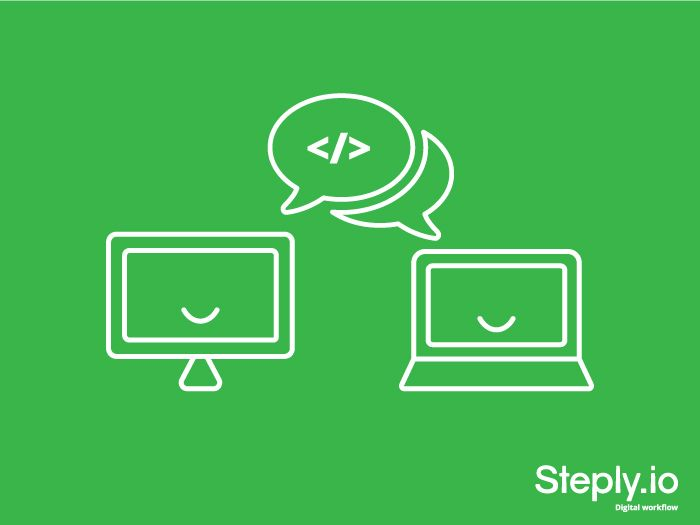 Open communication. It's not just between humans. Agile relies on close co-operation and collaboration between all team members and stakeholders. In a digital workflow the same applies to systems - steply.io