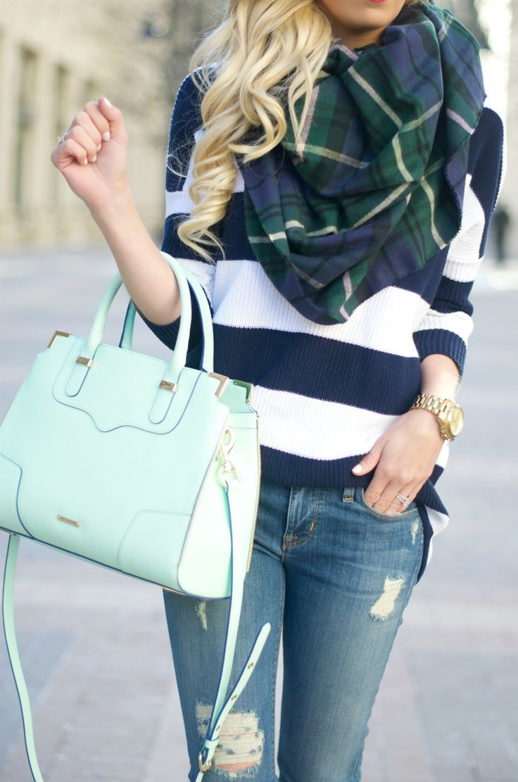 wide striped sweater, plaid scarf, jeans, mint purse