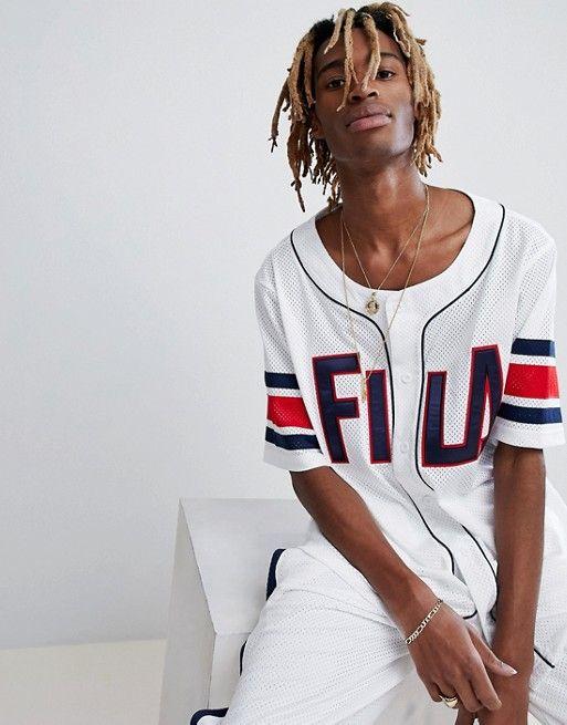 c5ac2380670 Fila Black Line Baseball Mesh T-Shirt In White | asos men | Mesh t ...