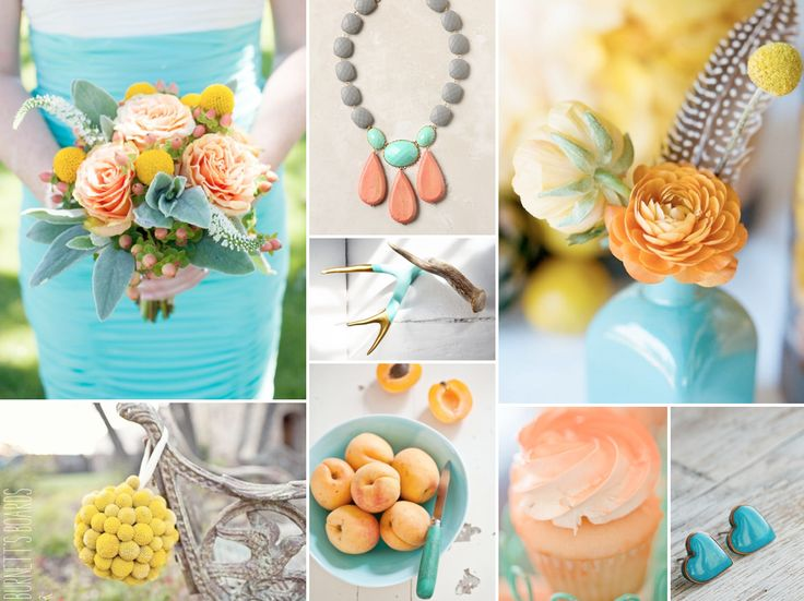 Turquoise, peach, and yellow wedding ideas
