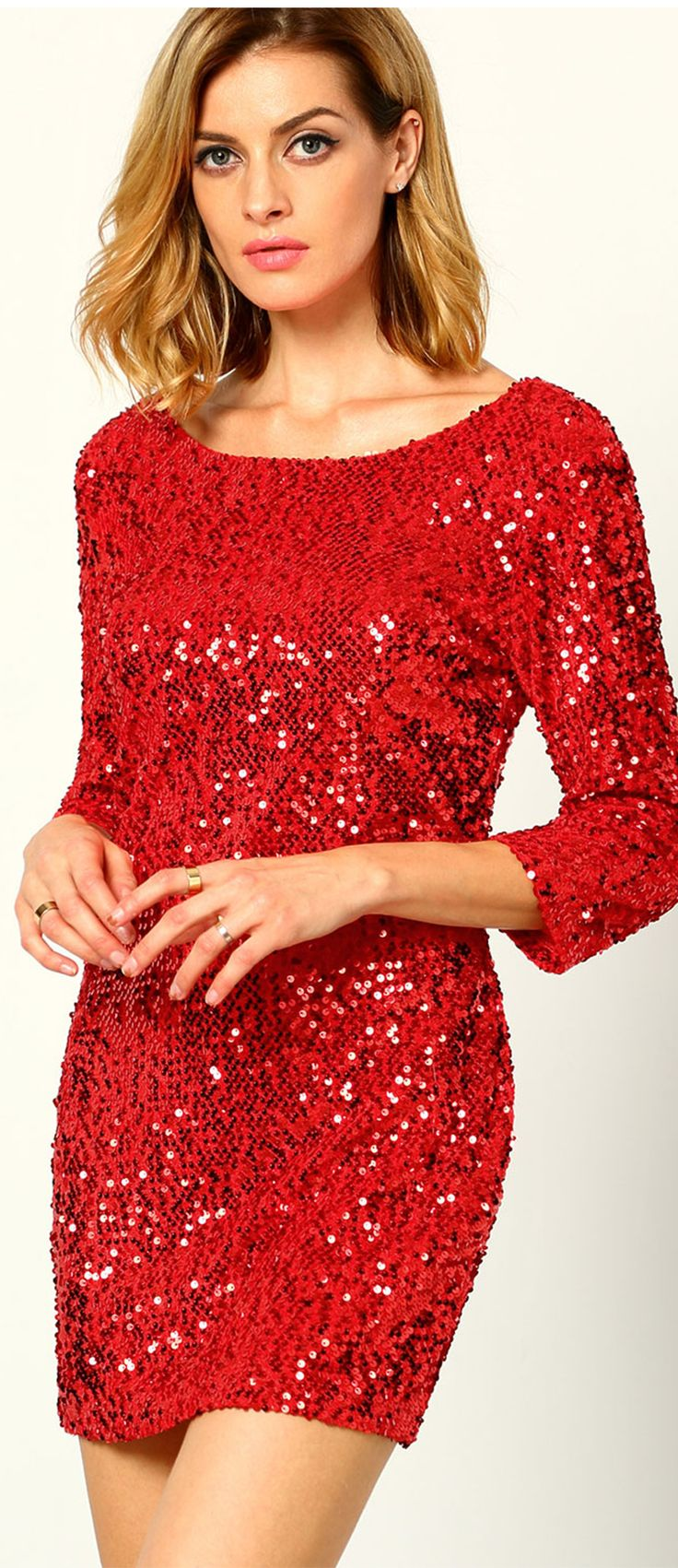 Bandage bodycon dresses 0 celebrities 1639 get lucky extra 50 0 - Red Round Neck Sequined Bodycon Dress
