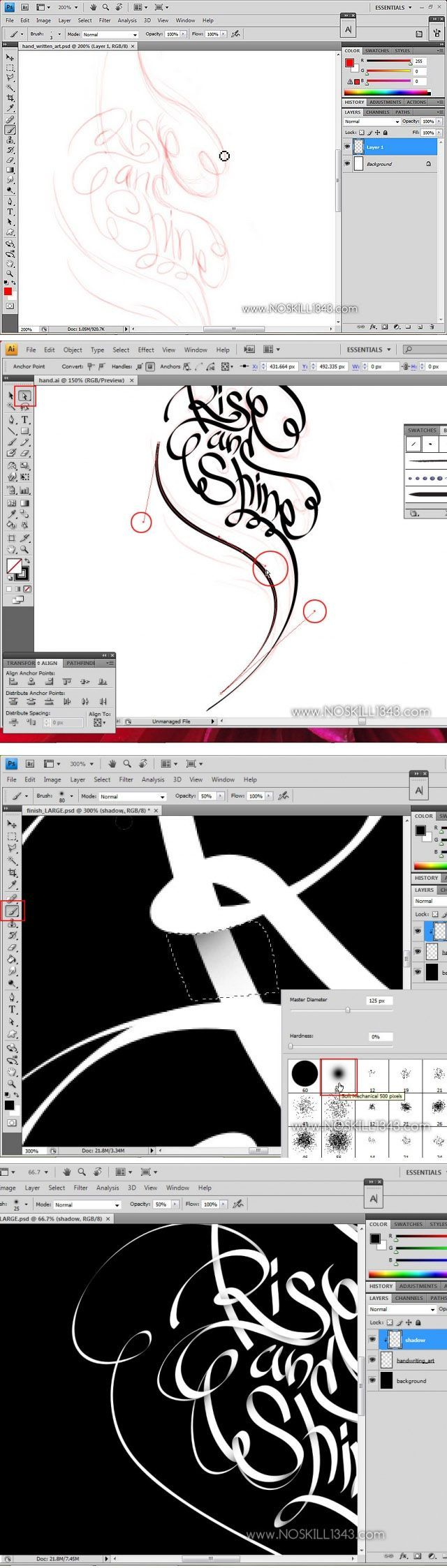 Calligraphy with Photoshop and Illustrator    http://www.webdesign.org/vector-graphics/adobe-illustrator/calligraphy-with-photoshop-and-illustrator.20157.html