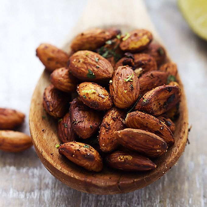 Chili lime almonds - Crunchy pan-toasted almonds with hints of spicy chili and zesty lime