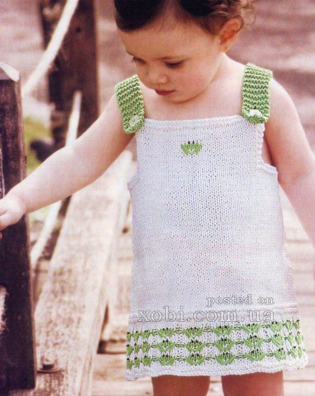 белый сарафан для девочки вязаный спицами