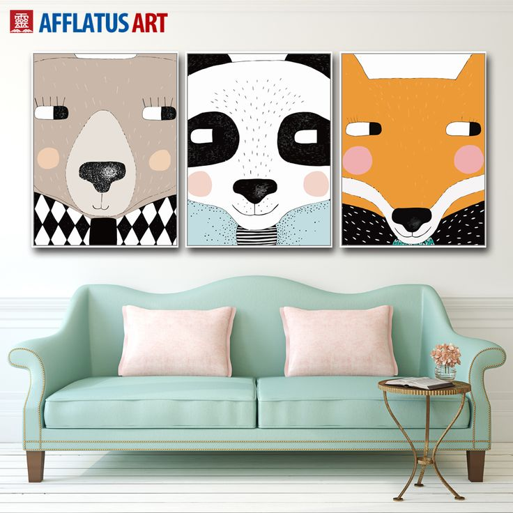 AFFLATUS Nordic Canvas Painting Kawaii Animals Wall Art Painting Canvas Poster Decoration Wall Pictures Kids Room Home Decor