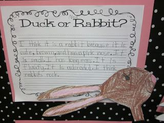 Is it a duck? Is it a rabbit? Free Opinion Writing!  Love this book!