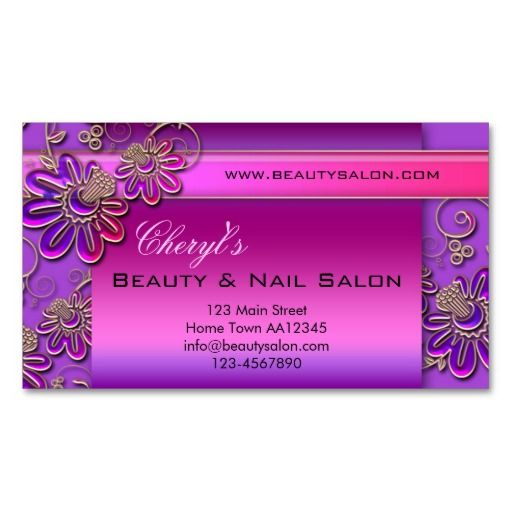 Beauty nail salon appointment business card nail salon for Salon business cards templates free