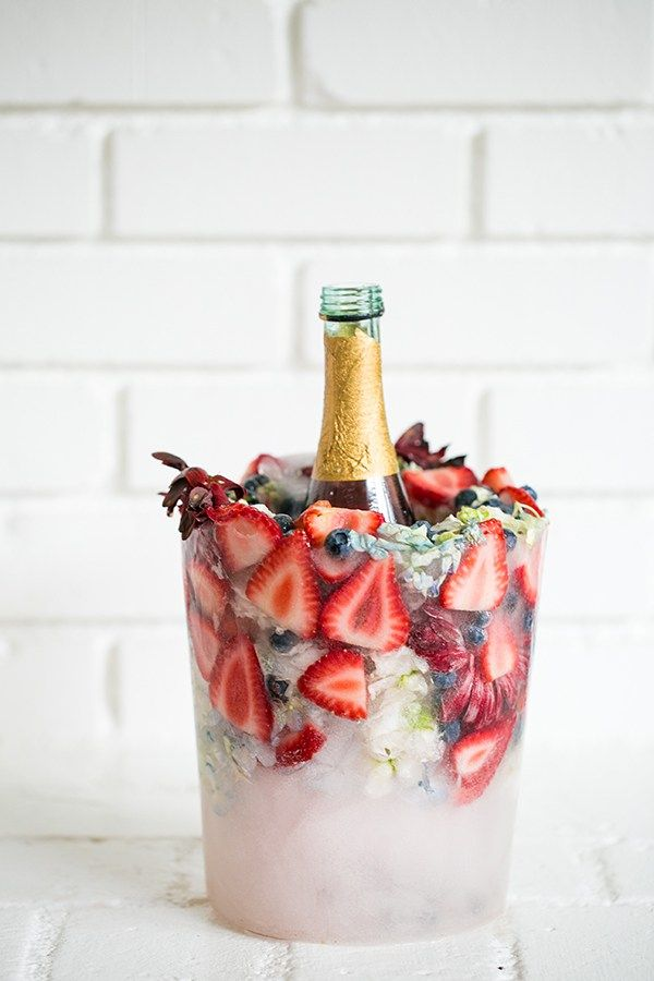 Floral and fruit ice bucket from Sugar and Charm and other great Party Hacks and ideas!
