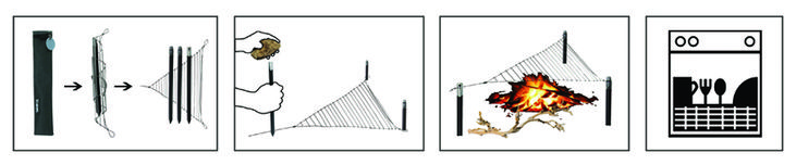 roee magdassi pins stakes for triangular outdoor cooking grill