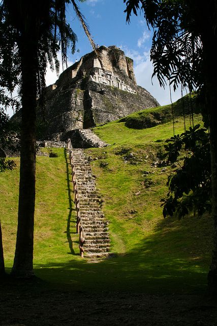 """El Castillo Mayan pyramid ~  Xunantunich,  Belize. The name Xunantunich derives from the Yucatec Maya language and means """"Stone Woman""""."""