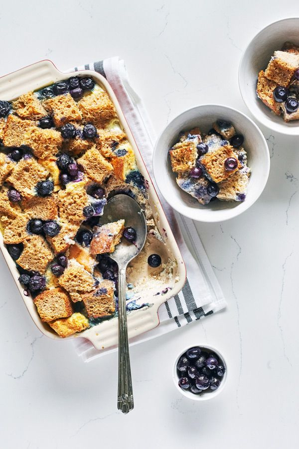 Fix Approved Bread Pudding made with Blueberries and Whole Grain Bread // #21dayFix #recipe #breadpudding #healthydessert