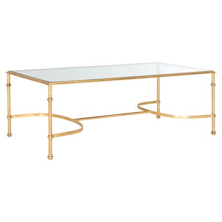 Canvas For Your Favorite Family Photos Or Stack Of Fashion Magazines This Iron Framed Coffee Table Features A Glittering Gold Finish And Tempered Gl
