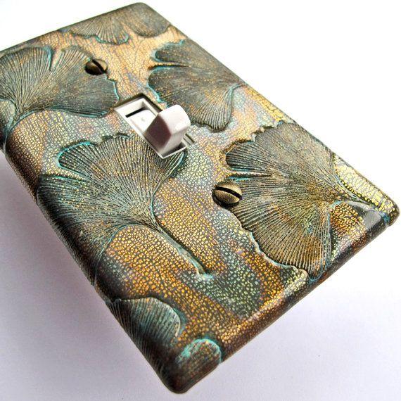 ginkgo switch cover, bronze ginkgo light switch plate, bronze switchplate CP-001
