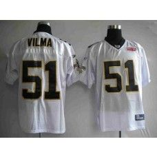 Saints #51 Jonathan Vilma White With Super Bowl Patch Stitched NFL Jersey